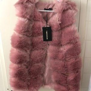 PRETTY LITTLE THING faux dusty pink vest